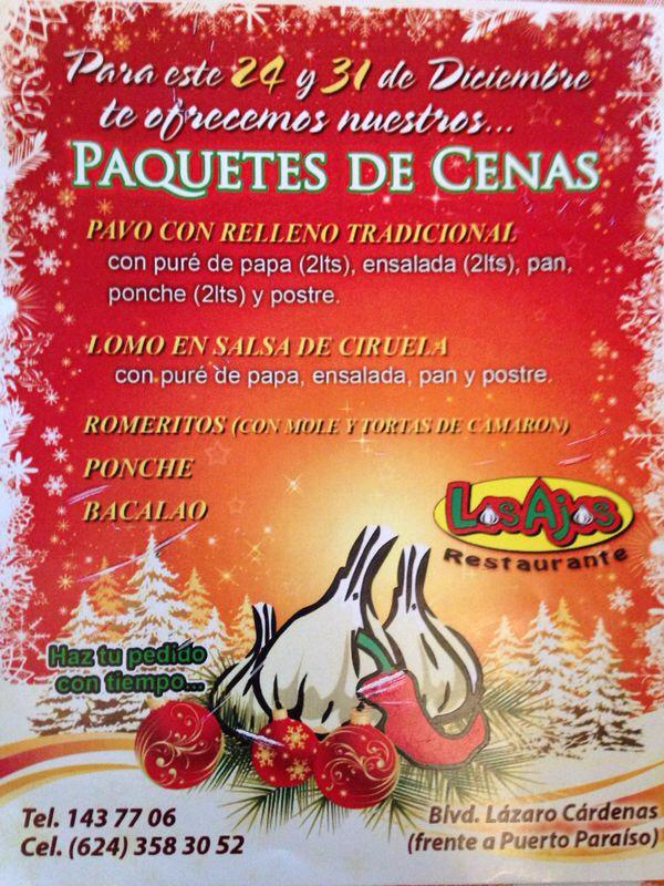 En el restaurante los ajos de cabo san lucas te preparan - Menu de cenas navidenas ...