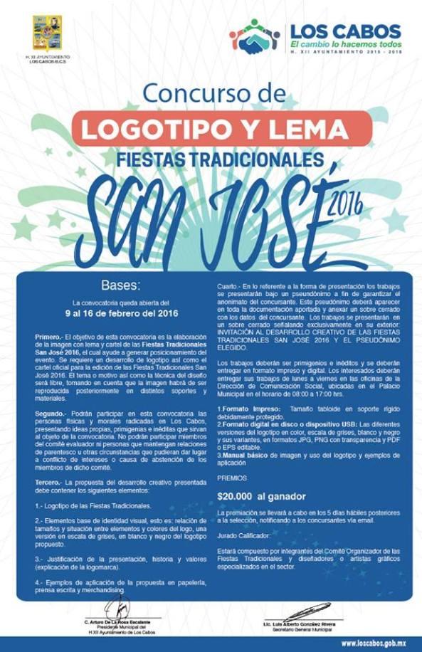 Invita Gobierno de Los Cabos a participar en el diseño del logotipo y lema de las Fiestas Tradicionales San José 2016